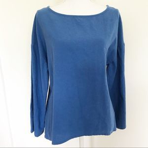 Soft surroundings blue gauze pullover sz S